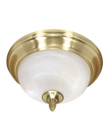 Nuvo Lighting 60-477 Sateen Collection Two Light Energy Star Efficient Fluorescent Ceiling Fixture in Satin Brass Finish - Quality Discount Lighting