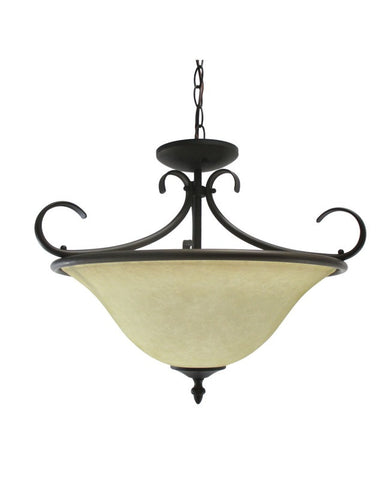 Epiphany Lighting GU102607 ORB Two Light Energy Efficient Fluorescent Pendant Convertible Chandelier, Semi Flush, Pendant in Oil Rubbed Bronze Finish