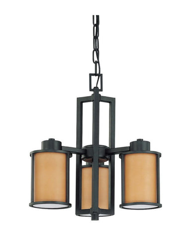 Nuvo Lighting 60-3825 Odeon Collection Three Light Energy Star Efficient Fluorescent GU24 Chandelier in Aged Bronze Finish - Quality Discount Lighting