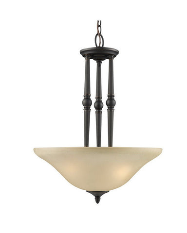Z-Lite Lighting 901P-BAC Three Light Pendant Chandelier in Burnt Antique Copper Finish - Quality Discount Lighting