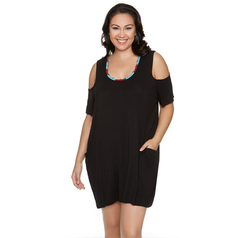 Women's Beach Cover-up - Black with Embroidered Neckline