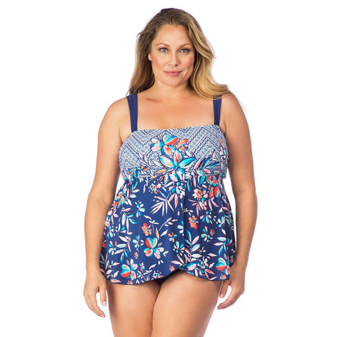 Maxine Plus Size Flyaway Tankini One-piece Swimsuit - Tropical Trip