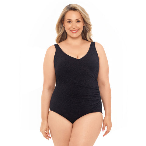 Chlorine Resistant Swimsuits - Plus Size Swimwear - Krinkle Polyester Surplice Plus Size Swimsuit - Available in 2 COLORS
