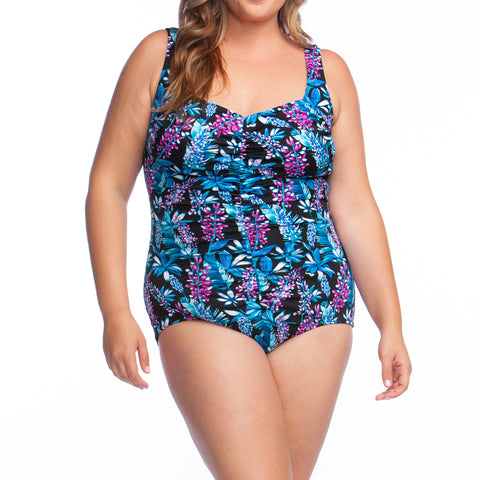 Maxine of Hollywood Spa Suit, Chlorine Resistant Swimwear- Prairie Print