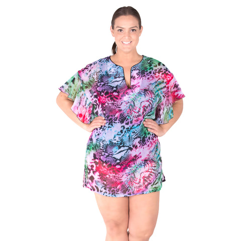 Sheer Chiffon Plus Size Cover-up - Pool Party