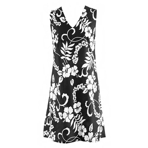 Easy On Plus Size Sundress -Black Flowers
