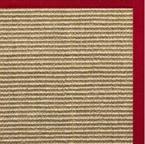 Bone Sisal Rug with Poppy Cotton Border