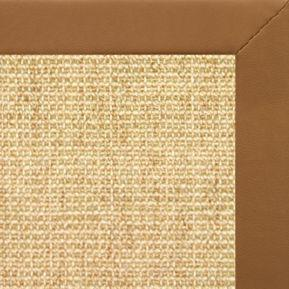 Sand Sisal Rug with Cinnamon Faux Leather Border