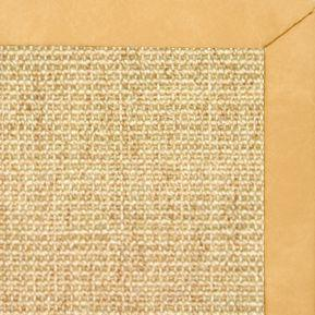Sand Sisal Rug with Gold Faux Leather Border