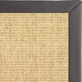 Sand Sisal Rug with Midnight Faux Leather Border