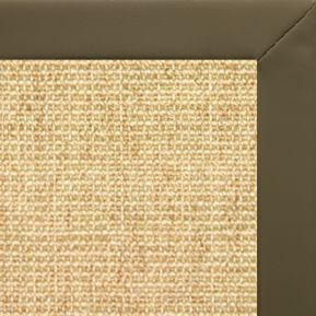 Sand Sisal Rug with Moss Faux Leather Border