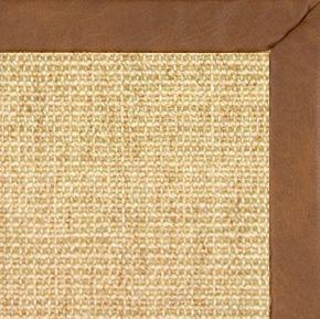 Sand Sisal Rug with Rawhide Faux Leather Border