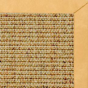 Spice Sisal Rug with Gold Faux Leather Border