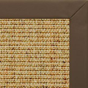 Spice Sisal Rug with Stone Faux Leather Border