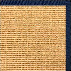 Tan Sisal Rug with Navy Blue Cotton Border