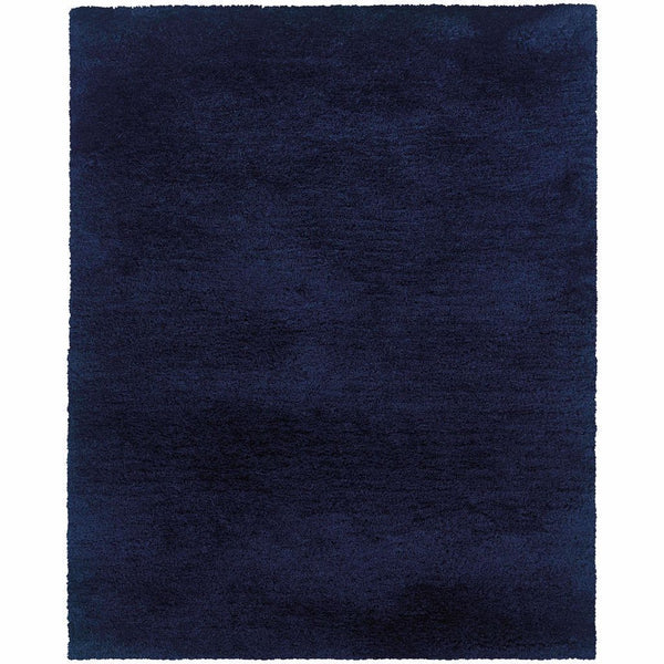 Cosmo Blue  Solid  Shag Rug - Free Shipping