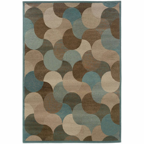 Oriental Weavers Adrienne Beige Blue Geometric Transitional Rug