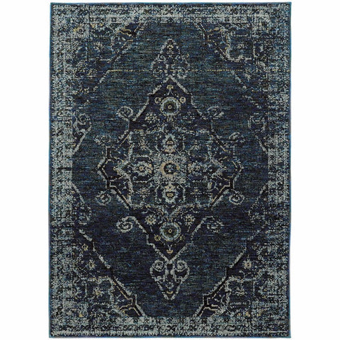 Oriental Weavers Andorra Blue Blue Oriental Medallion Traditional Rug