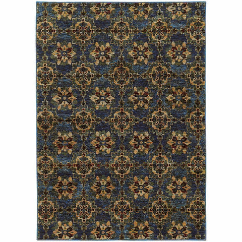 Oriental Weavers Andorra Blue Gold Oriental Medallion Traditional Rug