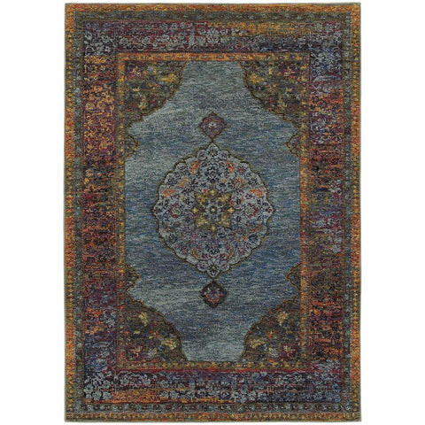 Oriental Weavers Andorra Blue Multi Oriental Medallion Traditional Rug