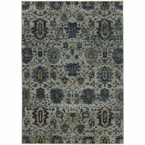 Oriental Weavers Andorra Blue Navy Oriental Overdyed Traditional Rug