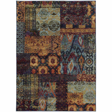 Oriental Weavers Andorra Multi Blue Abstract Ikat Transitional Rug