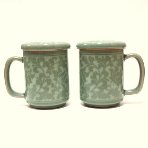 Korean celadon mug set - Inlaid Rinceau