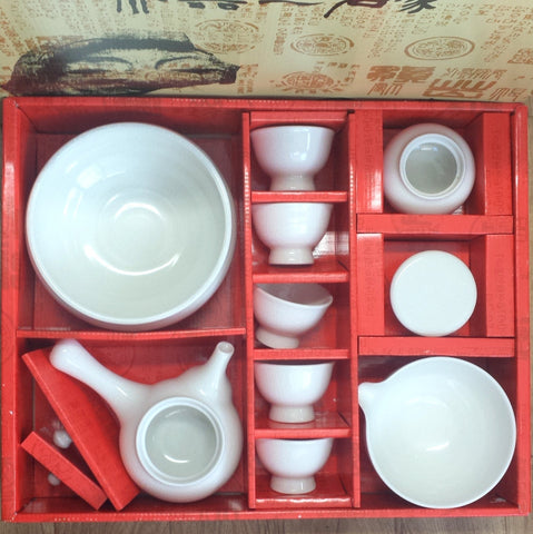 Complete Korean tea set - white crazing