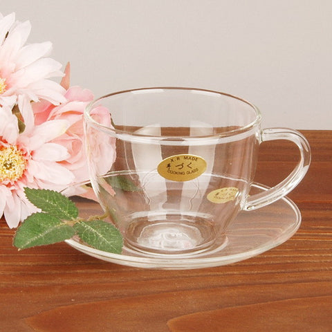 Glass Teacup & Saucer