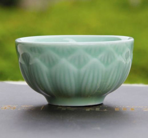 celadon teacup - lotus