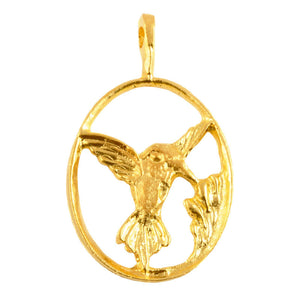 Casting-18x31mm Hummingbird Pendant-Gold
