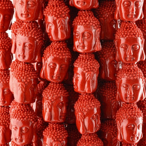Casting-15x22mm Buddha Bead-Red-Quantity 2