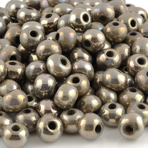 Ceramic Beads-12mm Round-Antique Chrome-Raku-Quantity 2