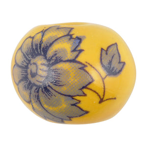 Ceramic Beads-16mm Round-Sun Yellow Floral Motif