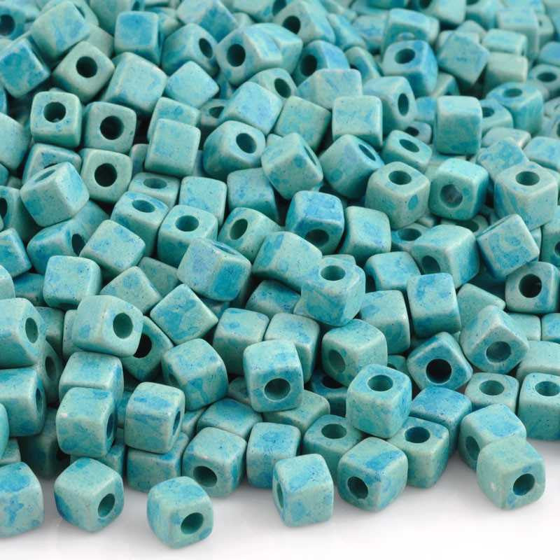 Ceramic Beads-5mm Cube-Seafoam Splash