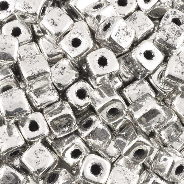 Ceramic Beads-7mm Cube-Antique Silver