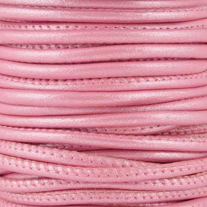 Leather Cord-2.5mm Stitched Nappa Cord-Mystique Pink-10 Meter Spool