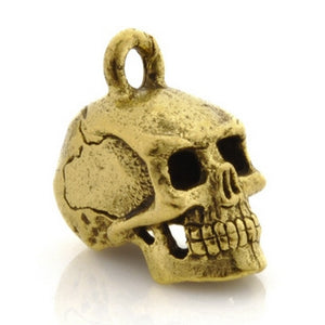 Pewter-17x8mm Skull Head Charm-3 Dimensional-Antique Gold-Quantity 1