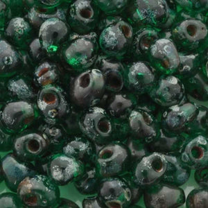 Seed Beads-3.4mm Drop-4507 Transparent Green Picasso-Miyuki-7 Grams