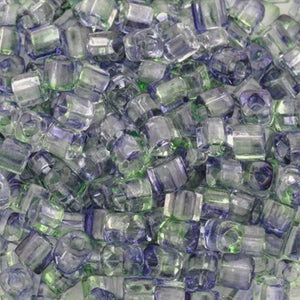 Seed Beads-4mm Cube-Y406 Dual-Coated Blueberry/Green Tea-Toho-15 Grams