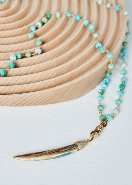 Abalone Tusk on Turquoise Bead Necklace