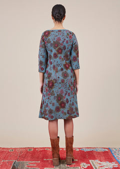 3/4 Sleeve Floral Knit Dress