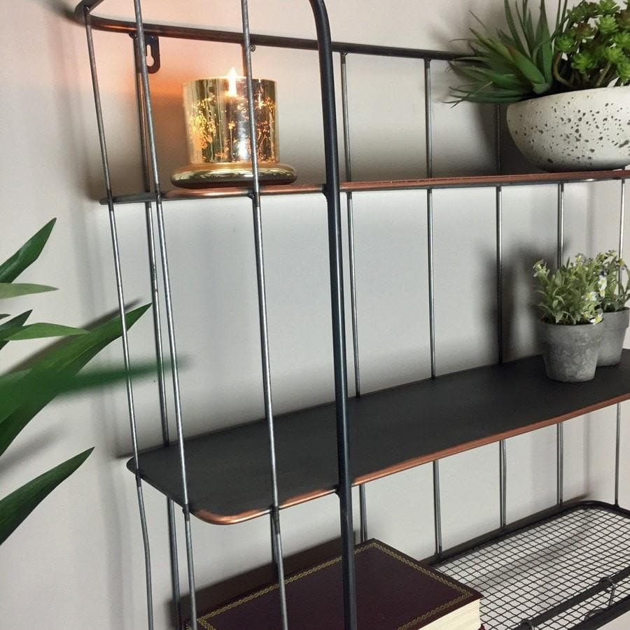 Industrial Wall Shelf with Hooks - Large - The Farthing