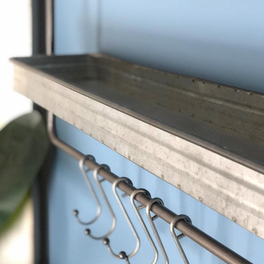 Industrial Zinc Shelf with Hooks at the Farthing