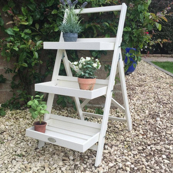 Parisian Vintage White Wooden Plant Stand - The Farthing