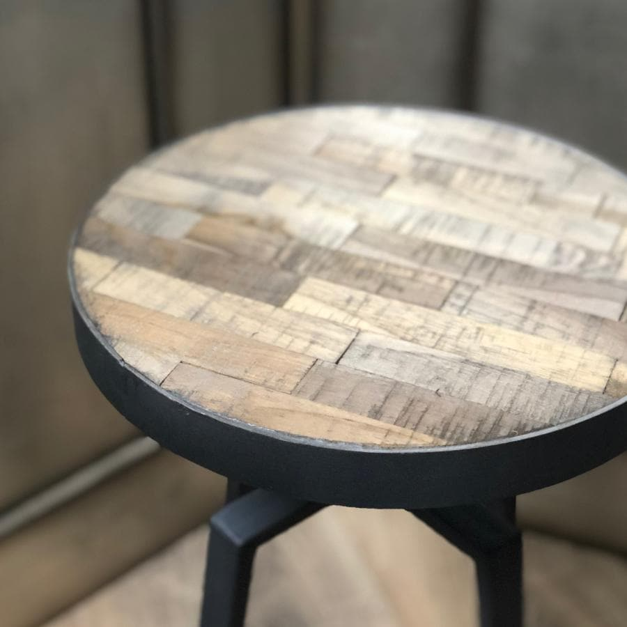 Low Weathered Inlay Wood & Metal Stool | The Farthing