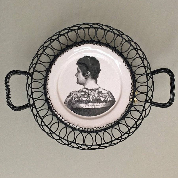 Vintage Style Hanging Plate - Tattoo Lady - The Farthing