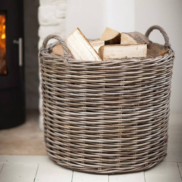 Giant Wicker Log Basket with Handles - The Farthing