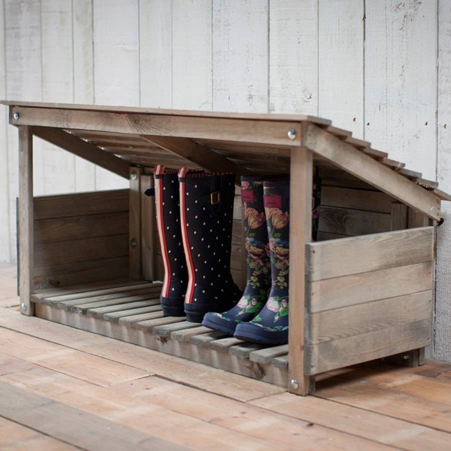 Rustic Aldsworth Outdoor Wooden Welly Boot Storage - The Farthing  - 2
