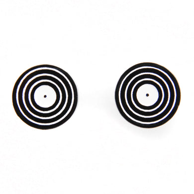 Handmade Black <br>Vinyl LP Record <br>Stud Earrings